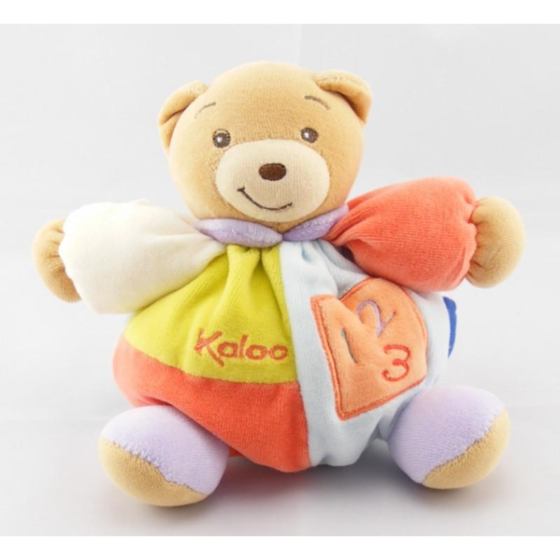 Doudou ours bleu rouge col vert  1 2 3 KALOO