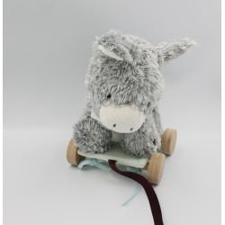 Voiture à tirer Doudou ane gris blanc foulard bleu Régliss KALOO