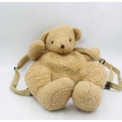 Ancienne peluche sac à dos ours beige CYRILLUS