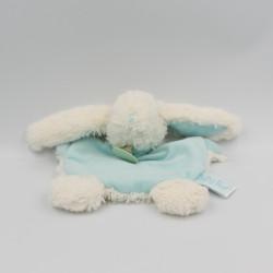 Doudou plat lapin blanc bleu ciel BABY NAT