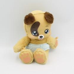 Doudou peluche sonore chien beige marron couche ZOOPY BAOBAB