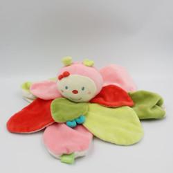 Doudou plat fleur papillon rose vert rouge BABYSUN
