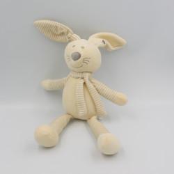 Doudou lapin beige blanc rayé GEMO