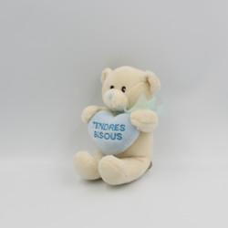 Doudou ours blanc bleu coeur Tendres Bisous ELUZ