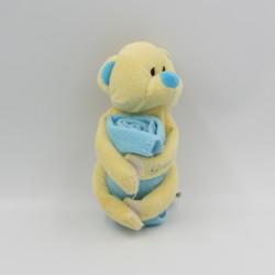 Doudou ours jaune bleu couverture Gros Calins ELUZ