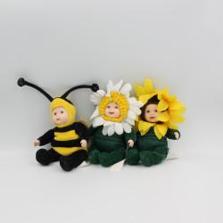 Mini Poupée fleur tournesol abeille ANNE GEDDES lot de 3