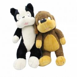 Peluche chien et chat Pif et Hercule ACTION CONCEPT 1989