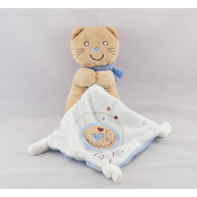 Doudou chat beige marron bleu brodé POMMETTE