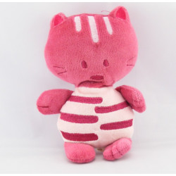 Doudou semi plat chat bordeaux rose AUCHAN