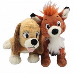 Doudou peluche renard et chien Rox et Rouky DISNEYLAND PARIS