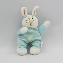 Doudou lapin blanc bleu rayé étoile BMF