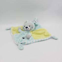 Doudou plat lapin gris bleu vert si mignon Simba Toys