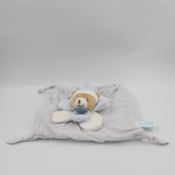 Doudou plat ours bleu blanc pétales lange Layette BABY NAT