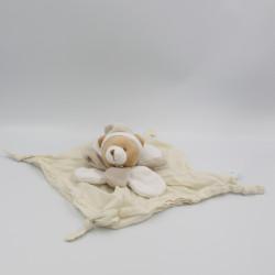 Doudou plat ours beige écru blanc pétales lange Layette BABY NAT