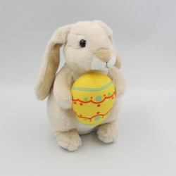 Doudou lapin Praline beige avec oeuf LA GRANDE RECRE
