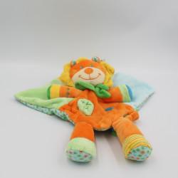 Doudou plat lion orange vert bleu jaune feuille NICOTOY