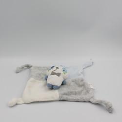 Doudou plat panda gris bleu blanc SIPLEC