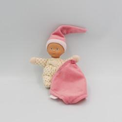 Doudou poupée bébé mouchoir rose coeurs Minirêves COROLLE