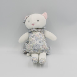 Doudou chat ours blanc rose bleu fleurs JACADI