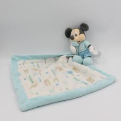 Doudou Mickey bleu avec mouchoir sapins ours DISNEY BABY