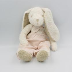 Doudou lapin blanc beige salopette rayé rose CYRILLUS