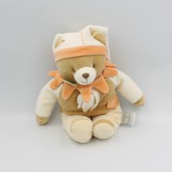 Doudou et compagnie ours arlequin douvelours beige orange blanc mouchoir