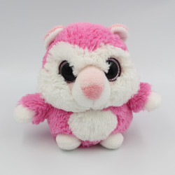 Doudou peluche chat rose blanc gros yeux brillant Simba Toys