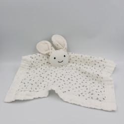 Doudou plat lapin blanc lettres alphabet
