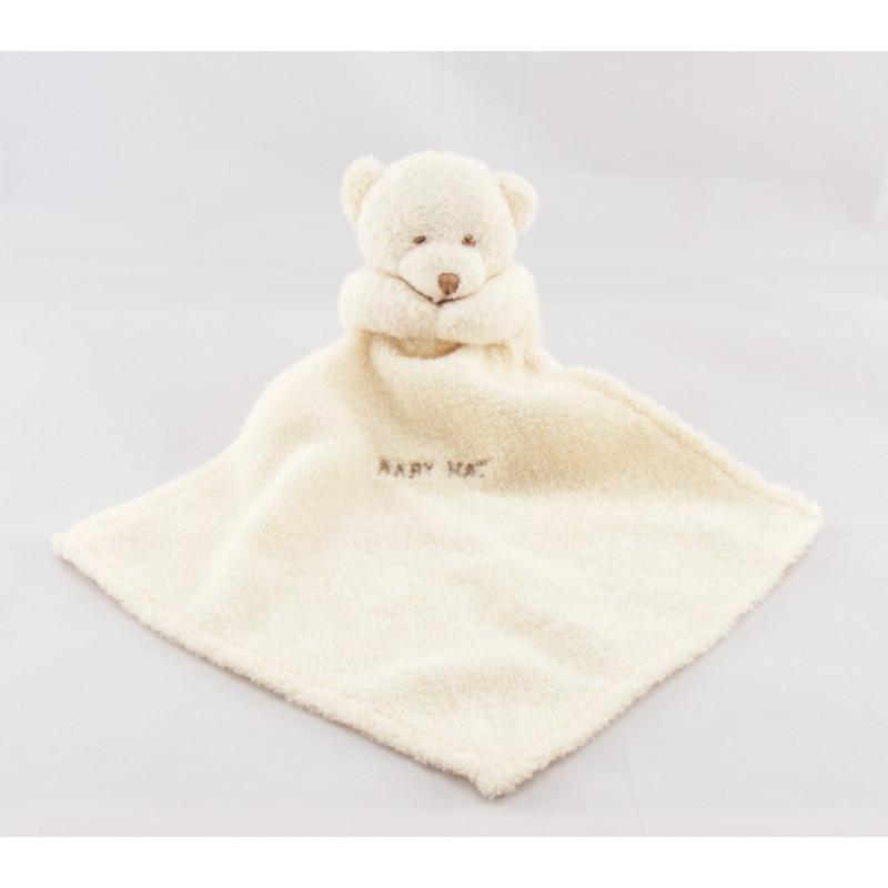 Doudou plat ours mouchoir blanc Baby nat