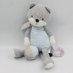 Doudou chat renard gris bleu blanc étoiles hochet TEX