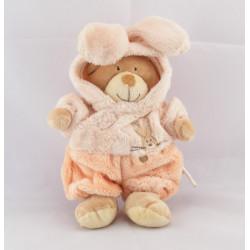 Doudou ours déguisé en lapin rose saumon NICOTOY NEUF