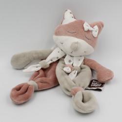 Doudou plat chat renard rose blanc gris étoiles TROIS KILOS SEPT