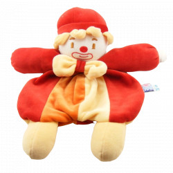 Doudou semi plat Clown rouge orange Sucre d'orge