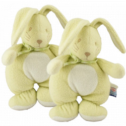 Doudou hochet lapin vert anis avec foulard Sucre d'orge