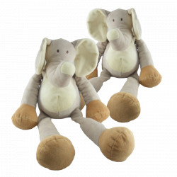 Doudou éléphant gris beige blanc Nicotoy
