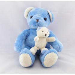 Doudou ours bleu avec bébé ours blanc AJENA