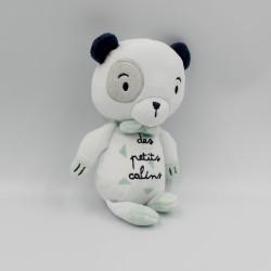 Doudou panda blanc bleu des petits calins MOTS D'ENFANTS SIPLEC