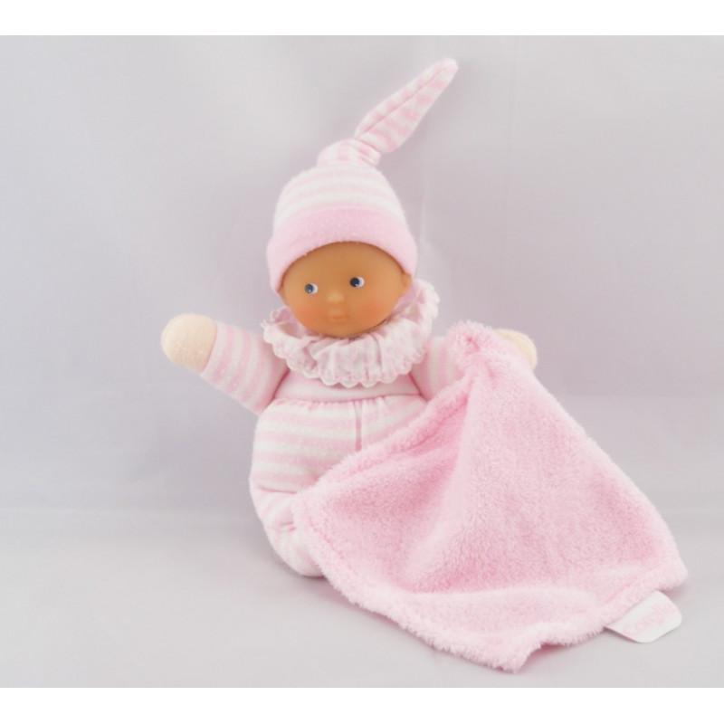 Doudou bébé avec mouchoir rose rayure Minirêves COROLLE