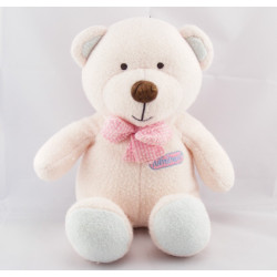 Doudou ours rose Luminou avec bébé jaune