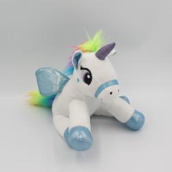 Peluche licorne blanche bleu arc en ciel FIZZY