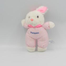 Doudou lapin blanc rayé rose Pampers Vintage