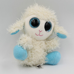Doudou peluche mouton blanc bleu gros yeux brillant LOOKIZ JEMINI