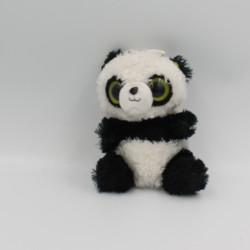 Doudou peluche panda noir blanc vert gros yeux
