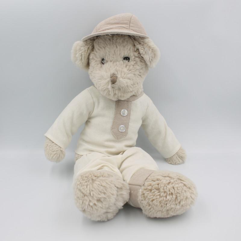 Doudou ours beige blanc lin casquette J-LINE