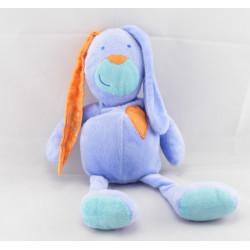 Doudou lapin bleu violet orange coeur FNAC EVEIL ET JEUX