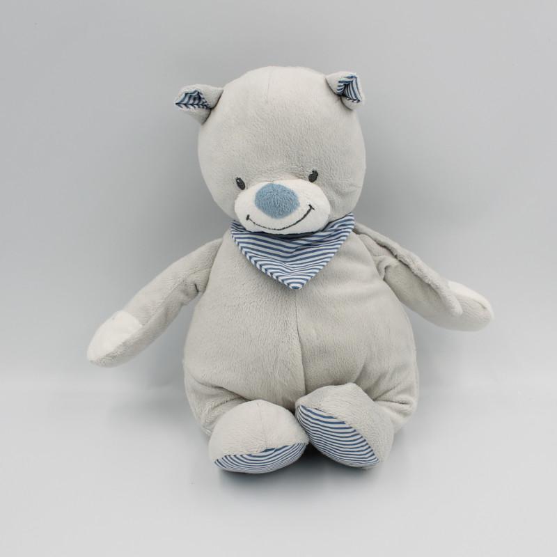 Doudou musical ours gris bleu rayé BOUTCHOU BOUT'CHOU