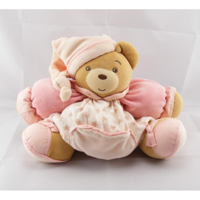 Doudou ours Boule patapouf rose avec fleurs Kaloo