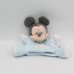 Doudou marionnette bébé Mickey bleu gris mouchoir moutons DISNEY BABY