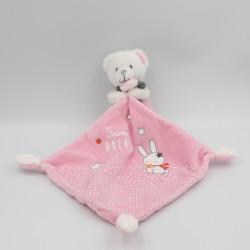 Doudou ours blanc rose gris Sweet Dreams mouchoir MOTS D'ENFANTS