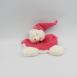 Doudou plat ours blanc rose Câlins BABY NAT